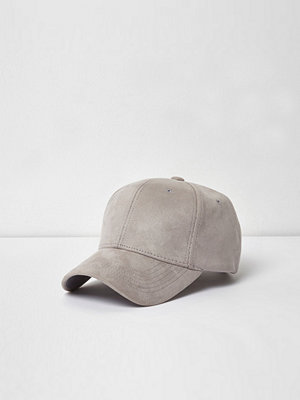 Mössor - River Island River Island Mens Light Grey faux suede baseball cap