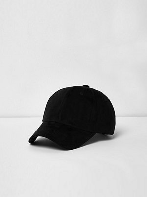 Mössor - River Island Black faux suede baseball cap