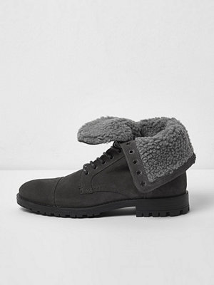 Boots & kängor - River Island River Island Mens Grey borg lined suede work boots