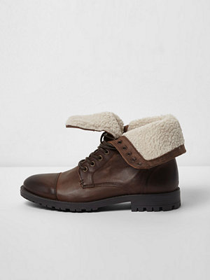 Boots & kängor - River Island River Island Mens Brown borg lined leather work boots