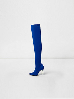 Boots & kängor - River Island River Island Womens Blue scuba over the knee pointed boots