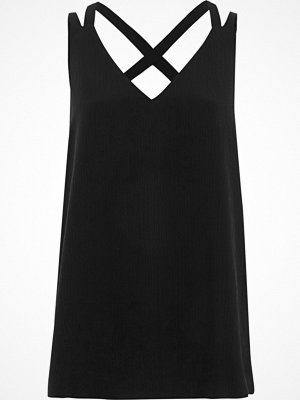 River Island River Island Womens Black textured cross back vest top