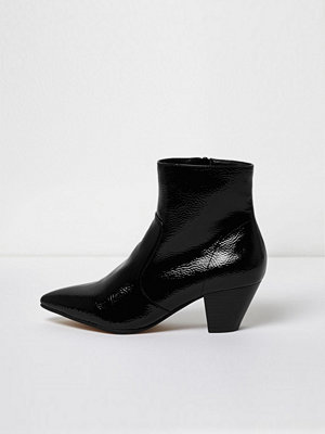 Boots & kängor - River Island River Island Womens Black pointed toe patent western heel boots