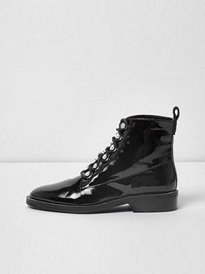 Boots & kängor - River Island River Island Womens Black patent diamante trim lace-up boots