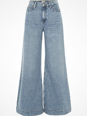 River Island Mid Blue wash Mila wide leg jeans