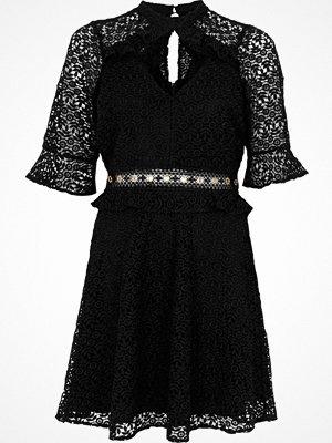 River Island Black lace eyelet waist keyhole dress
