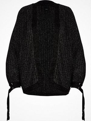 Cardigans - River Island River Island Womens Black metallic chunky knit tie cuff cardigan