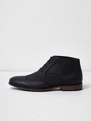 Boots & kängor - River Island River Island Mens Black textured brogue boots