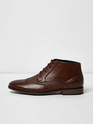 Boots & kängor - River Island River Island Mens Brown textured brogue boots