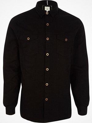 Skjortor - River Island River Island Mens Black button-up overshirt