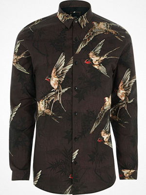 River Island Red bird print muscle fit shirt