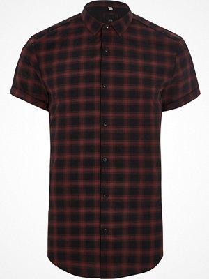 Skjortor - River Island River Island Mens Red check slim fit short sleeve shirt