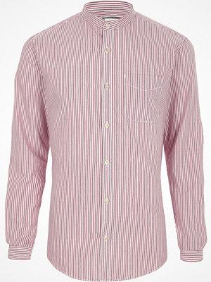 Skjortor - River Island River Island Mens Purple stripe grandad Oxford shirt