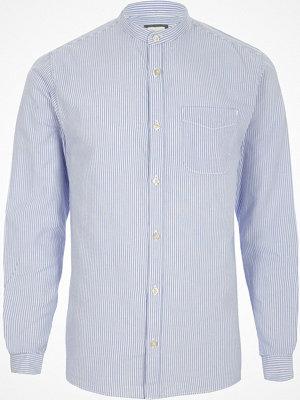 Skjortor - River Island River Island Mens Blue stripe grandad Oxford shirt