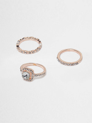 River Island Rose Gold tone diamante embellished ring pack