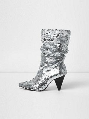 Boots & kängor - River Island River Island Womens Silver sequin cone heel boots