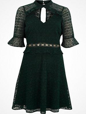 River Island Dark Green lace frill waisted dress