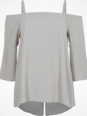 River Island Light Grey bardot split sleeve top