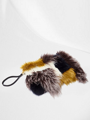 River Island omönstrad kuvertväska River Island Womens Brown multi colour mongolian clutch bag