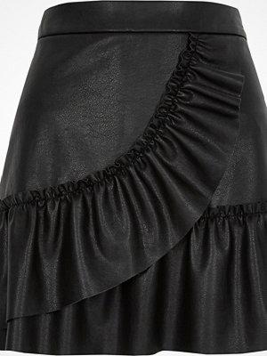 River Island Black faux leather frill mini skirt