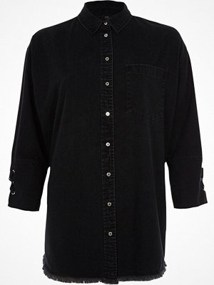 Skjortor - River Island River Island Womens Black lace cuff denim shirt