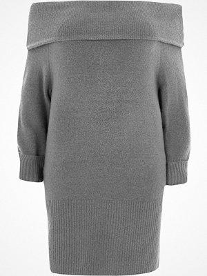River Island River Island Womens Plus dark Grey foldover bardot jumper dress