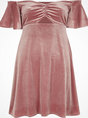River Island Pink velvet ruched bardot mini skater dress