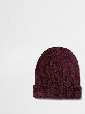 Mössor - River Island Red knit slouch beanie hat