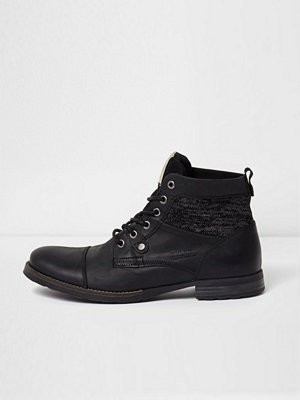 Boots & kängor - River Island River Island Mens Black leather knit panel work boots