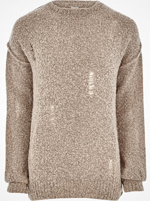 Tröjor & cardigans - River Island River Island Mens Stone boucle knit distressed jumper