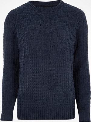 Tröjor & cardigans - River Island River Island Mens Navy textured chenille knit jumper