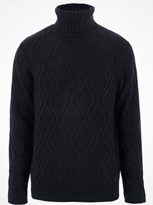 Tröjor & cardigans - River Island River Island Mens Navy diamond knit roll neck jumper