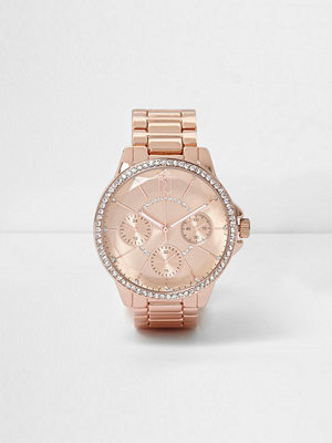River Island Plus rose Gold tone diamante watch