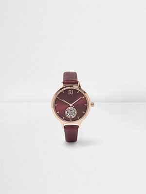 Klockor - River Island River Island Womens Red diamante pave round face watch