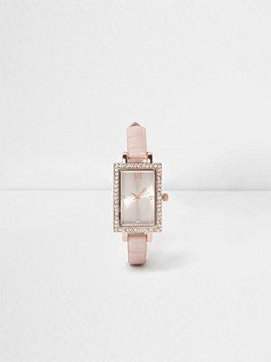 Klockor - River Island River Island Womens Light Pink croc rectangle diamante watch