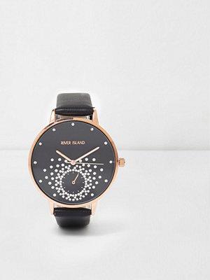 Klockor - River Island River Island Womens Black diamante embellished watch