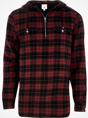 Skjortor - River Island River Island Mens Red check zip front hooded shirt