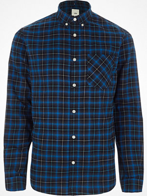 Skjortor - River Island River Island Mens Blue check button-down collar shirt