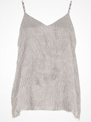 River Island River Island Womens Grey fringed faux pearl strap cami top