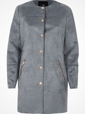 River Island River Island Womens Blue faux suede edge to edge coat