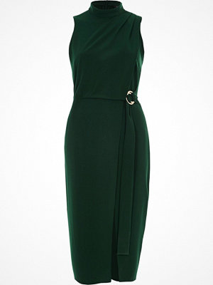 River Island River Island Womens Dark Green high neck wrap D-ring midi dress
