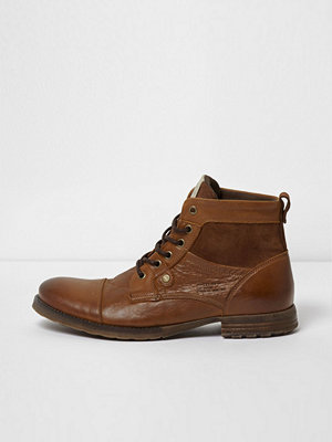 Boots & kängor - River Island River Island Mens Tan leather and suede toe cap work boots