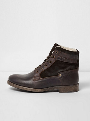 Boots & kängor - River Island River Island Mens Dark Brown leather borg lined boots