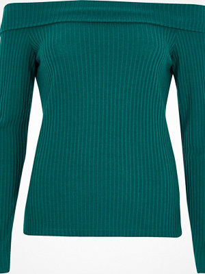 River Island River Island Womens Green ribbed fitted bardot top