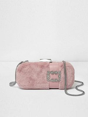 River Island persikofärgad kuvertväska River Island Womens Pink faux fur jewel box clutch bag