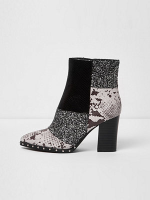 Boots & kängor - River Island River Island Womens Black glitter and snake block heel boots
