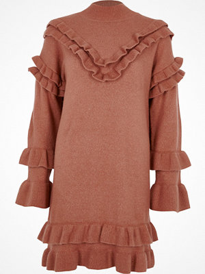 River Island River Island Womens Pink frill turtle neck knitted dress
