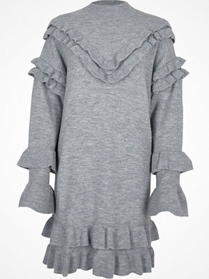 River Island River Island Womens Light Grey frill turtle neck knitted dress