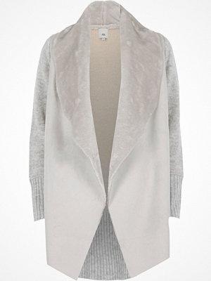 River Island River Island Womens Light Grey faux shearling fallaway cardigan