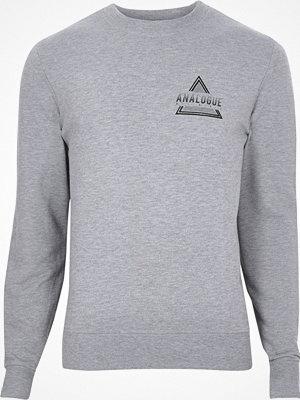 Tröjor & cardigans - River Island River Island Mens Grey marl 'analogue' print sweatshirt